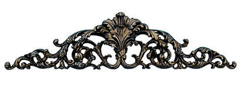 Arched and Scrolled Acanthus Leaves Over-the-Door Wall Decor in Black Gold Silver Finish
