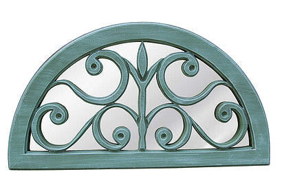 Windsor Arched Scrolls Wall Mirror Antique Reproduction, Sea Mist Color Finish