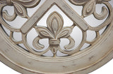 Fleur de Lis Round Wall Mirror Antique Reproduction, Old World White Finish