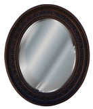 Antique Leaf Oval Wall Mirror Antique Reproduction in Walnut Color Finish