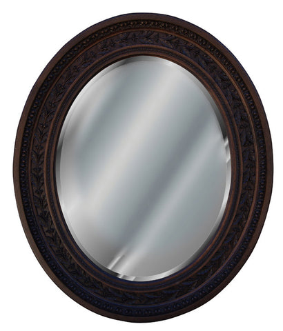 Antique Leaf Oval Wall Mirror Antique Reproduction, Walnut Color Finish