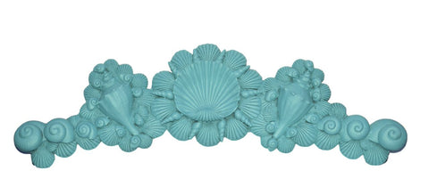 Sea Shells Over-the-Door Wall Decor in Cool Blue Aqua Finish