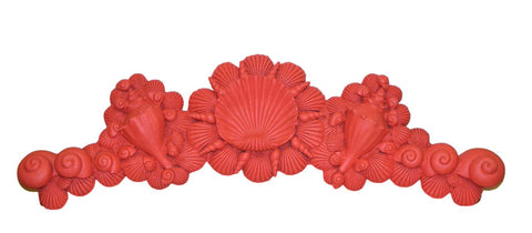 Sea Shells Over-the-Door Wall Decor in Coral Finish