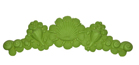 Sea Shells Over-the-Door Wall Decor in Luau Green Finish