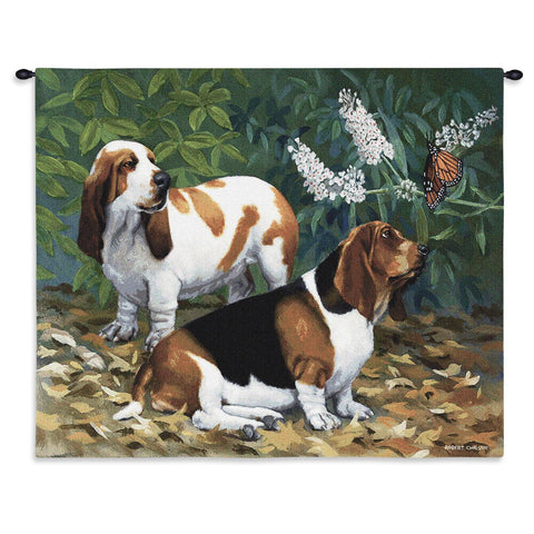 Bassett Hound Dogs and Butterfly Art Tapestry Wall Hanging