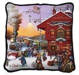 Christmas-Time Train Depot by Charles Wysocki Art Tapestry Pillow