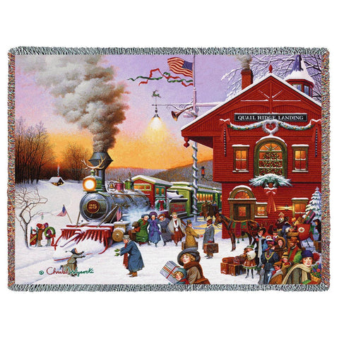 Christmas-Time Train Depot by Charles Wysocki Art Tapestry Throw