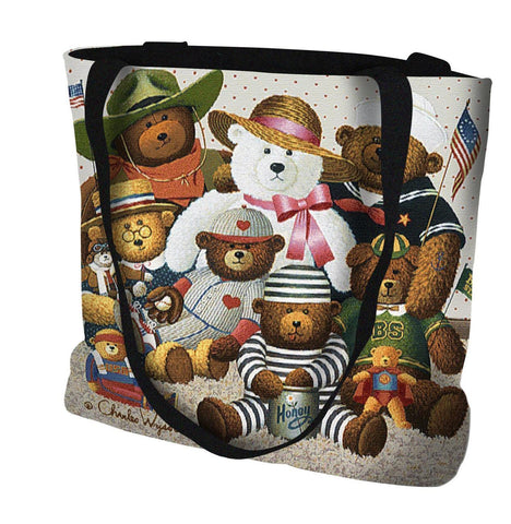 Gangs All Here Teddy Bears by Charles Wysocki Art Tapestry Tote Bag