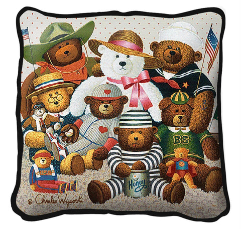 Gangs All Here Teddy Bears by Charles Wysocki Art Tapestry Pillow