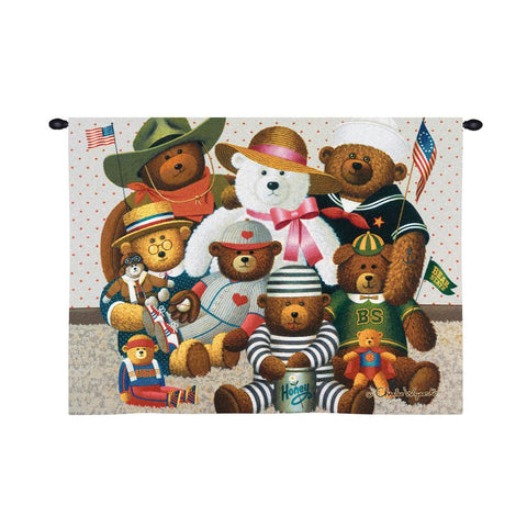 Gangs All Here Teddy Bears by Charles Wysocki Art Tapestry Wall Hanging