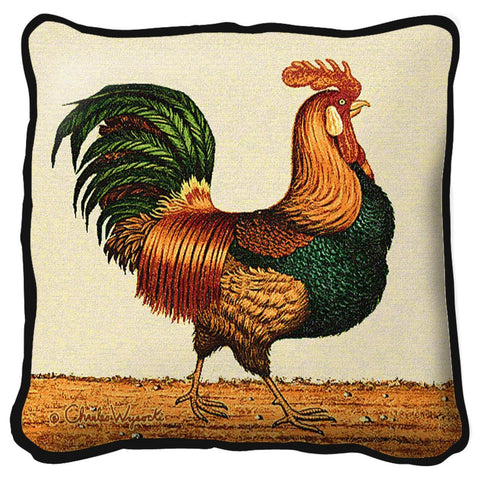 Country Rooster Art Tapestry Pillow