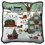 Cape Cod Christmas Art Tapestry Pillow