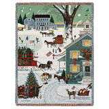 Cape Cod Christmas Art Tapestry Throw
