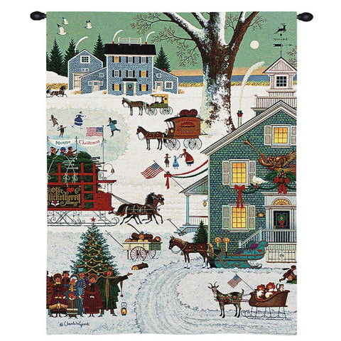 Cape Cod Christmas Art Tapestry Wall Hanging