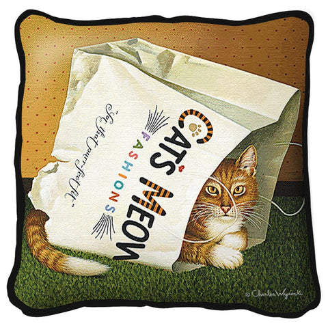Cat in the Bag Art Tapestry Pillow