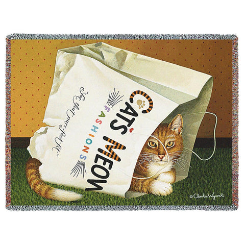 Cat in the Bag Art Tapestry Throw