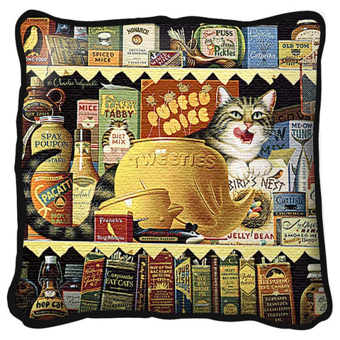 Ethel the Gourmet Cat Art Tapestry Pillow