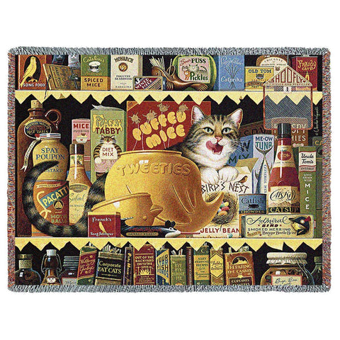 Ethel the Gourmet Cat Art Tapestry Throw
