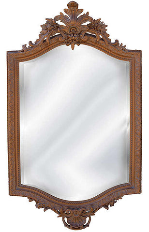 18th Century French Wall Mirror Antique Reproduction in Bronze Color Finish
