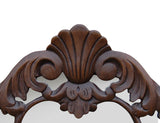 Shell and Leaf Curved Wall Mirror Antique Reproduction, Walnut Color Finish