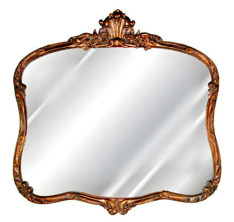 French Buffet Wall Mirror Antique Reproduction, Baroque Color Finish