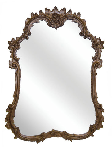 Ornate French Curved Wall Mirror Antique Reproduction in Bronze Color Finish