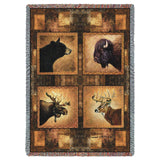 Big Game Heads Art Tapestry Throw