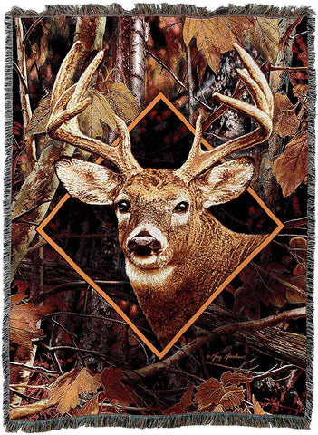 Deer in Cameo by Greg Giordano Woven Art Tapestry Throw