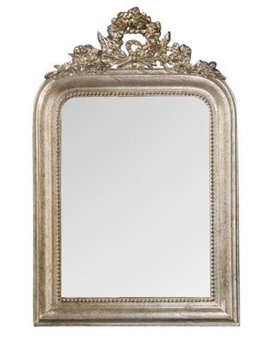 Classic-Style Wreath Wall Mirror Antique Reproduction in Shimmer Finish