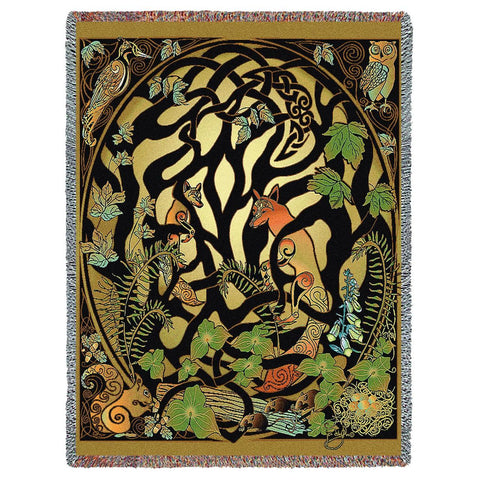 Woodland Creatures Abstract Art Tapestry Throw