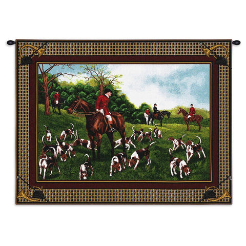 English Fox Hunt Art Tapestry Wall Hanging