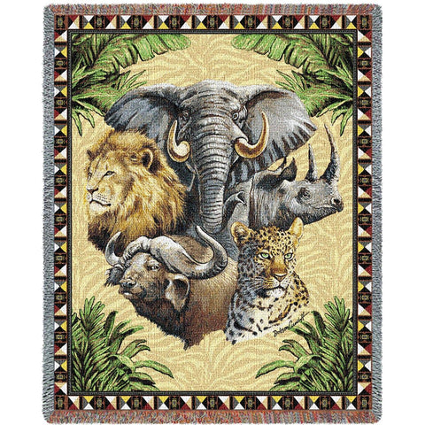 Big Five Wild Animals Art Tapestry Throw
