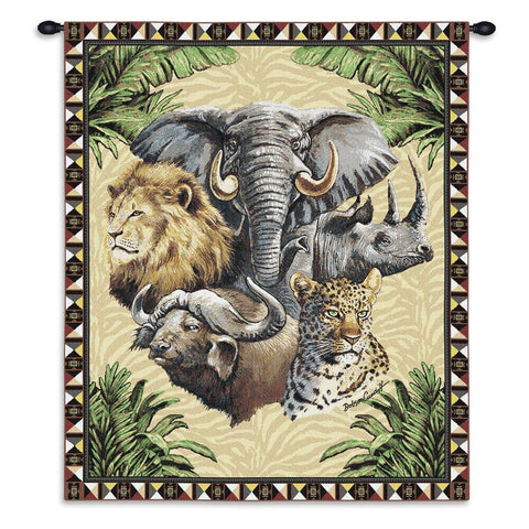 Big Five Wild Animals Art Tapestry Wall Hanging
