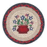 "Americana Bouquet 10"" Round Braided Jute Trivet Set of 2 #80-015AB"