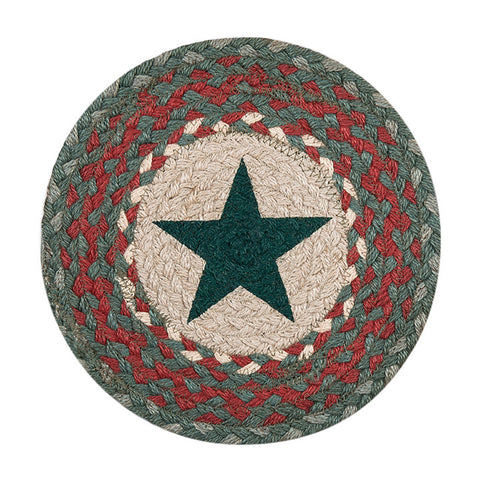 "Green Star 10"" Round Braided Jute Trivet Set of 2 #80-025A"