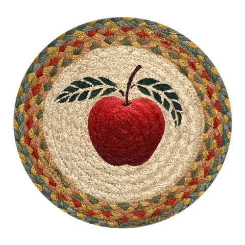 "Country Apple 10"" Round Braided Jute Trivet Set of 2 #80-042A"