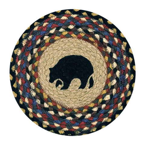 "Black Bear 10"" Round Braided Jute Trivet 80-043BB"