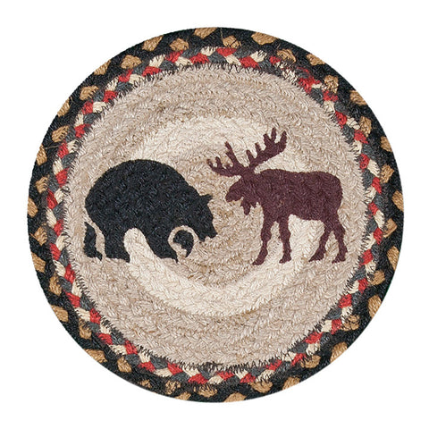"Bear and Moose 10"" Round Braided Jute Trivet Set of 2 #80-043BM"
