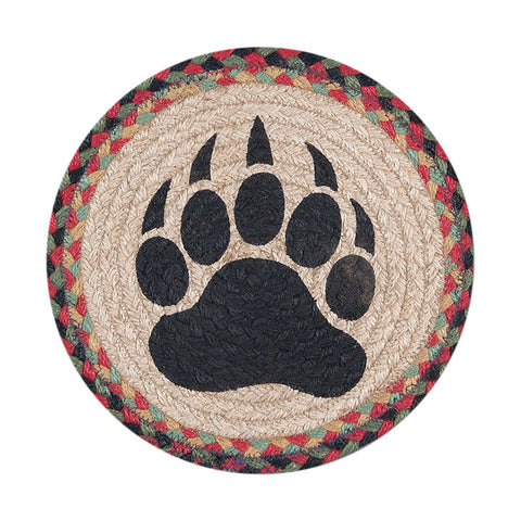 "Bear Paw Print 10"" Round Braided Jute Trivet 80-081BP"