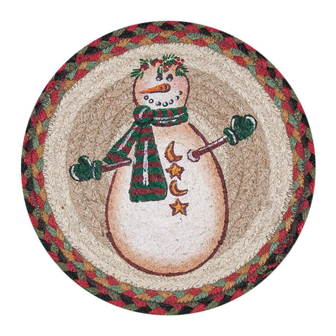 "Snowman with Moons and Stars 10"" Round Braided Jute Trivet Set of 2 #80-081MSS"