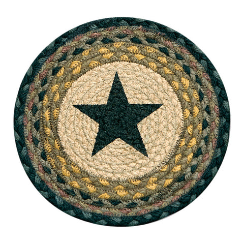 "Black Star I 10"" Round Braided Jute Trivet Set of 2 #80-099S"