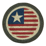 "Americana Original Flag 10"" Round Braided Jute Trivet Set of 2 #80-1032"
