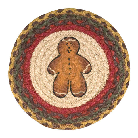 "Gingerbread Man 10"" Round Braided Jute Trivet Set of 2 #80-111GBM"