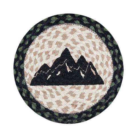 "Mountain Silhouette 10"" Round Braided Jute Trivet Set of 2 #80-116MS"