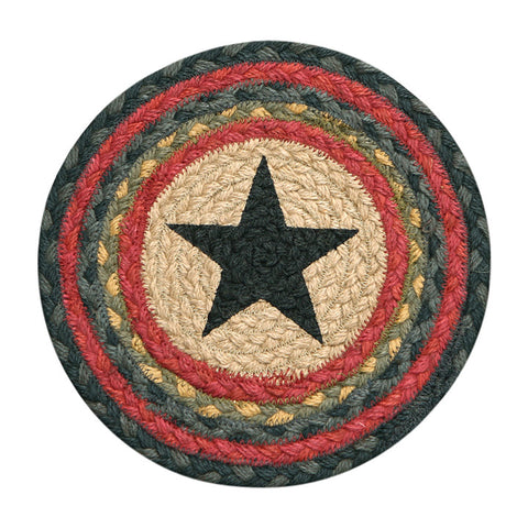 "Black Star II 10"" Round Braided Jute Trivet Set of 2 #80-238S"