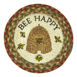 "Bee Happy 10"" Round Braided Jute Trivet 80-300BH"