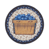 "Blueberries in Basket 10"" Round Braided Jute Trivet 80-312BB"