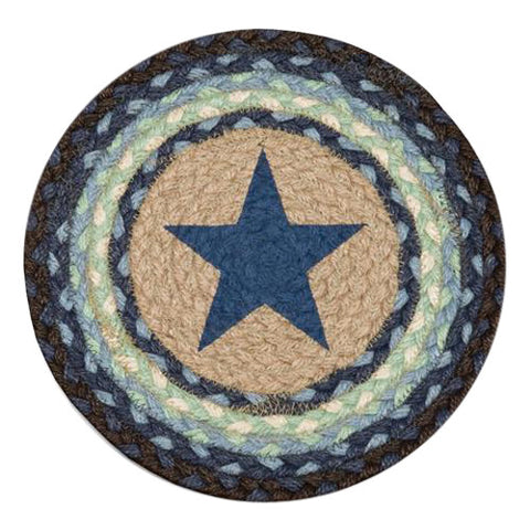 "Blue Star 10"" Round Braided Jute Trivet Set of 2 #80-312BS"