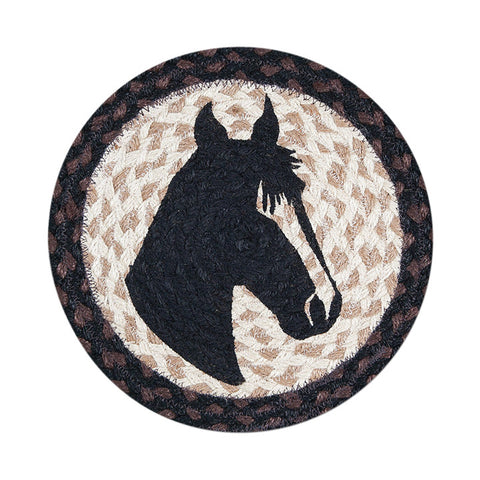 "Horse Portrait 10"" Round Braided Jute Trivet Set of 2 #80-313HP"