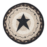 "Black Primitive Star 10"" Round Braided Jute Trivet 80-313PSB"